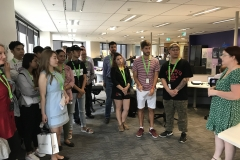 Mel talks to students